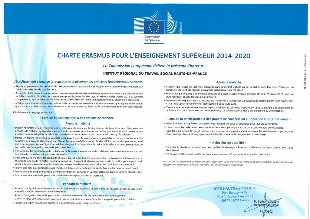 Charte Erasmus + 2014 2020 signée BC